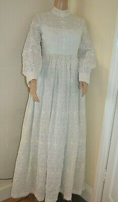 Vintage Long White Gown Dress Bonwit Teller 8 Sm 1940'S 50'S Embroidered Wedding