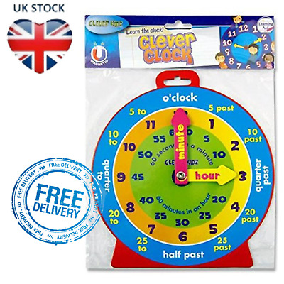 Kids Teaching Clock Childrens Learn To Tell The Time Boys Girls Educational Toy