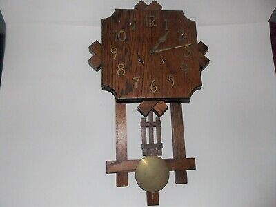 Antique Arts & Crafts Oak Wall Clock-Time & Strike-28""