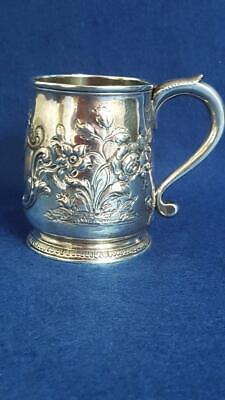 V Rare Early George II Repoussé Sterling Silver Beer Tankard London 1729 212g
