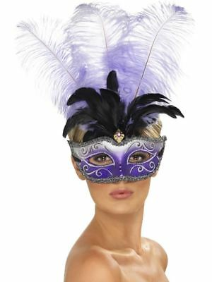 Venetian Colombina Eyemask with Multicolour Plume Purple, Eyemasks, One Size #AT