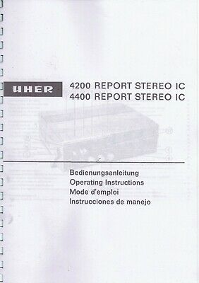 repro and bound Mode d,emploi UHER 4200 - 4400 Report Stereo IC - francais
