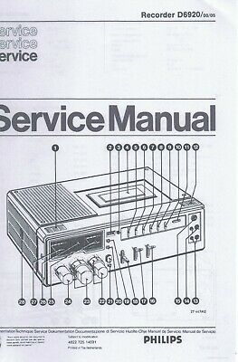 repro and bound Service manual PHILIPS D6920 reporter recorder - English