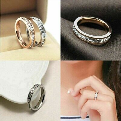 316L Stainless Band Titanium Steel silver/Gold Men/Womens Wedding Ring Sz3-10