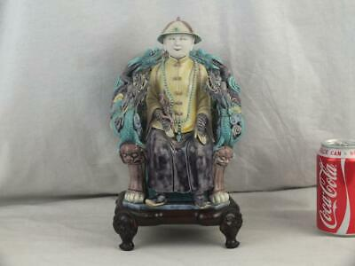 Rare 19Th C Chinese Wang Bing Rong Porcelain Emperor Figure On Dragon Seat