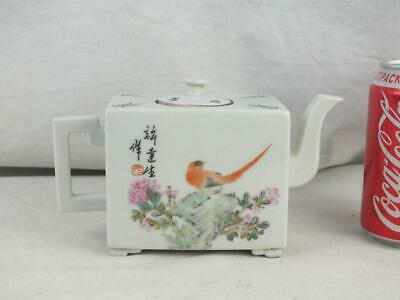 Republic Chinese Porcelain Birds Calligraphy Signed Square Teapot