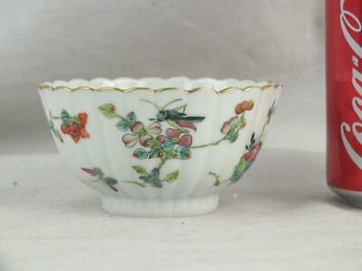 Fine 19Th C Chinese Daoguang Famille Rose Fluted Grasshopper Bowl - Marked