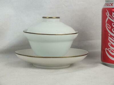 Unusual 19Th C Chinese Porcelain Ogee Pale Celadon Metal Rim Bowl, Cover & Stand
