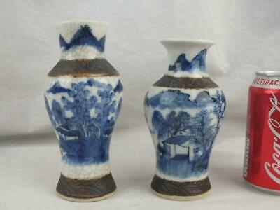 Two 19Th C Chinese Porcelain Blue And White Landscape Vases