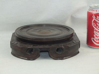 """Good Heavy 18Th C Chinese Carved Hardwood Stand 6 - Inner Diameter 5"""""""