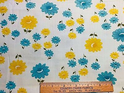 """Vintage Cotton Fabric 40s50s CUTE Blue & Yellow Daisies 35""""w 1yd"""