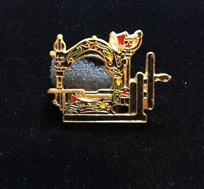 Vintage Folk Art Enamel Sewing Machine Pin 1""