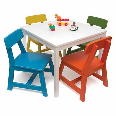 Groovy Lipper Childrens White Square Table With 4 Multicolor Chairs Short Links Chair Design For Home Short Linksinfo