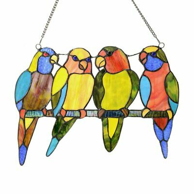 River of Goods Stained Glass Tropical Birds Window Panel