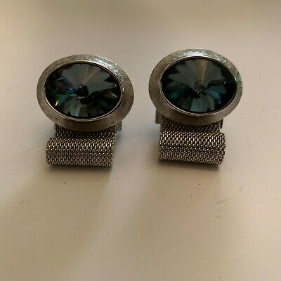 Vintage Dante Large Faceted Glass Stone Wrap Cufflinks