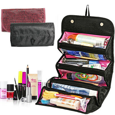 Women Makeup Case Rollup Travel Pouch Cosmetic Organizer Clutch Handbag Toiletry