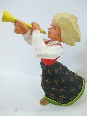 """Wood Carved 6"""" Girl Trumpet Figure with Horn"""