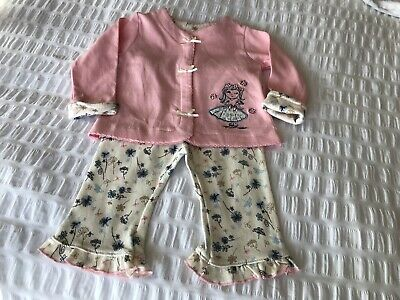 STERLING BABY GIRLS TOP AND TROUSERS AGE 6months PINK/CREAM
