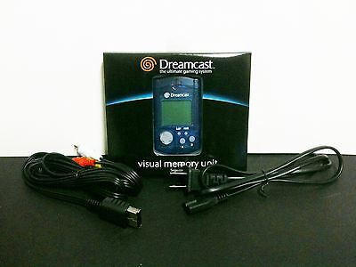 Nuevo Sega Dreamcast Azul Virtual Memoria Vmu + AC Power Cable + Rca a / V Cable