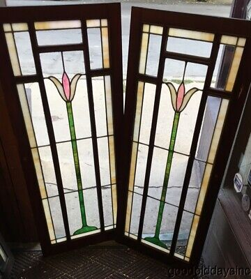 "Pair of Antique Stained Leaded Glass Cabinet Doors w/ Panels  51"" x 21"""