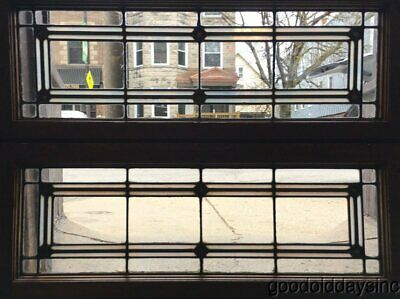 """2 of 5 Antique Arts & Crafts Stained Leaded Glass Transom Windows 36"""" x 14"""""""