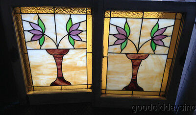 "Antique Pair of Chicago Bungalow Stained Leaded Glass Windows 25"" by 20"""