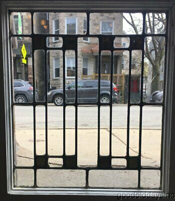 """Antique Small Chicago Arts & Crafts Leaded Stained Glass Window 21"""" x 18"""""""
