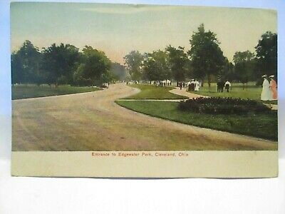 "1908 Tint Postcard  "" Entrance To Edgewater Park, Cleveland Ohio "" W/ People"