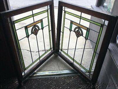 """Pair of Antique Chicago Bungalow Stained Leaded Glass Windows 34"""" x 32'"""" ca.1925"""