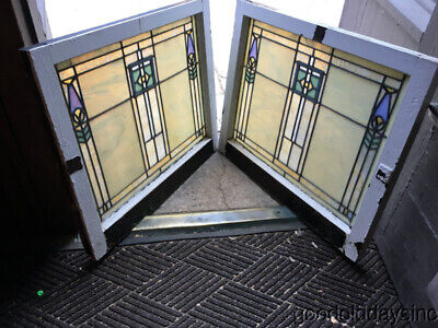"Wonderful Pair of Arts & Crafts Antique Stained Leaded Glass Windows  30"" by 25"""