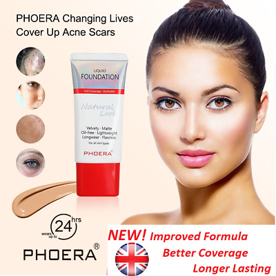 PHOERA® Liquid Foundation 24 HR Long lasting Makeup Full Coverage Natural look