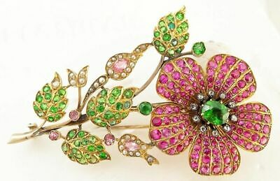 Antique Brooch Gold Demantoid Garnet Ruby Sapphire Diamond Pearl C1900 (5293)