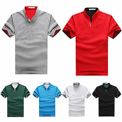 Men Cotton Short Sleeve Slim Fit Solid Tee Stand Collar Polo T-shirt Sports Golf