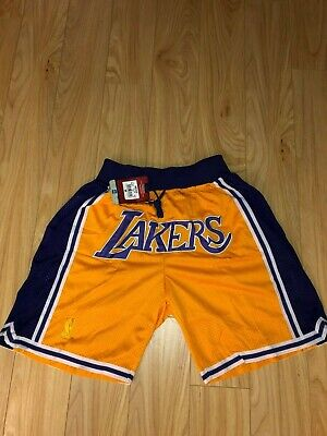 NWT Los Angeles Throwback Summer League Just Don Lakers Shorts Gold Mens