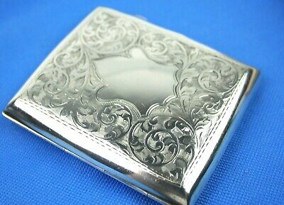 Antique Solid Silver Ornate Cigarette Case B'ham Hallmark W.J Myatt  C1914 85.7g