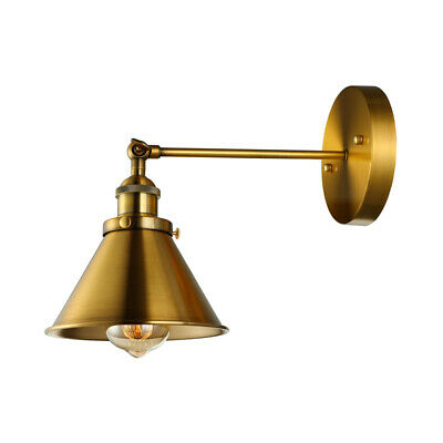Warehouse Antique Brass Cone Shade Wall Light Fixture Industrial Wall Sconce