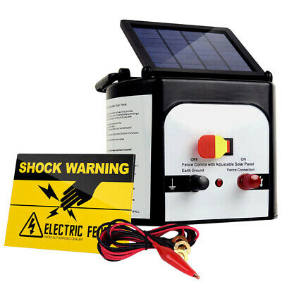 FREE SHIPPING - Giantz 8km Solar Power Electric Fence Charger Energiser 0.3J ...