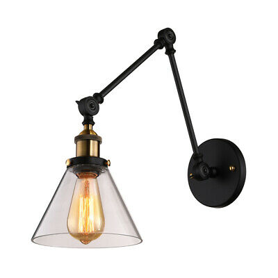 Industrial Clear Glass Shade Wall Sconce Long Swing Arm LED Wall Lamp Lighting