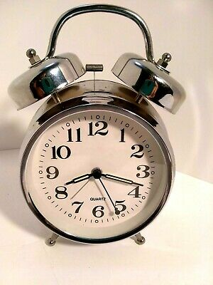 Alarm Clock Battery Operated Circular Stainless Metal Antique Style  Quartz
