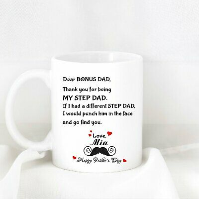 e9163fbcd Dear Bonus Dad - Thank You For Being my Step Dad Coffee Mug Funny Happy  Father's
