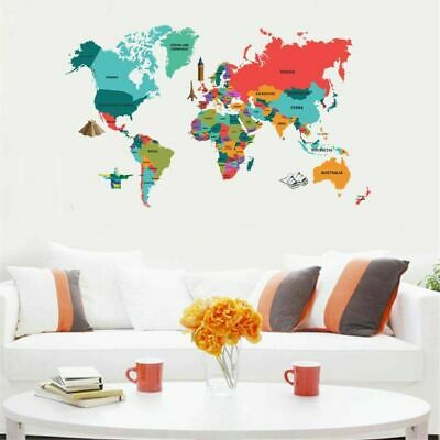 LARGE COLOR MAP Of The World Wall Stickers Decal Vinyl Art Home Kids on world map art, world travel decal, world map engraving, world map fan, world map of the wall, world map vase, world map large size, world map magnet, world map as background, world map fuse, world map card, world map tank, world map tape, world map poster, world history decal, world globe decal, world map sleeve, world map oil, world map mirror, world map design,
