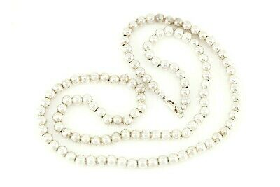 """Vtg Sterling Silver Long Heavy 30"""" Bead Ball Necklace"""