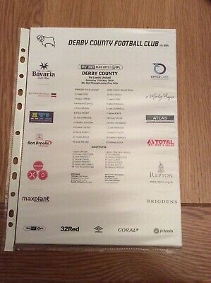 Mint Derby County 2018-2019 Championship Teamsheets 25 Different