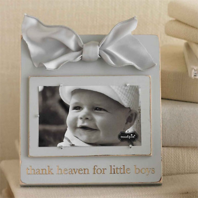 Wooden Mud Pie ~ Thank Heaven For Little Boys ~ Grey Photo Frame With Bow