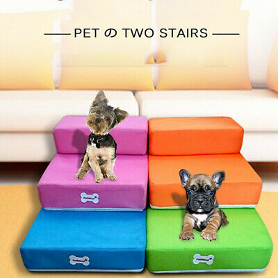 Dog Breathable Mesh Foldable Pet Stair Detachable Pet Bed  Ramp 2 Step Ladder RF