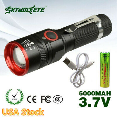T6 Tactical LED Flashlight Torch USB Rechargeable Zoomable 18650 Light USA