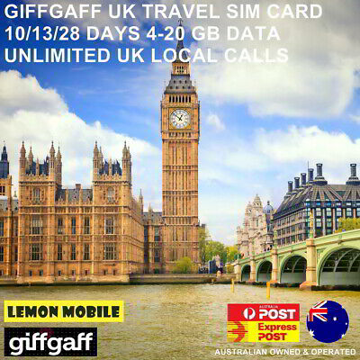 UK Travel SIM Card |10-28 Days| 4-20GB data plan|Unlimited local calls|Giffgaff