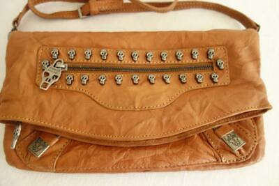 ** Thomas Wylde Look Tan Leather Crossbody Shoulder Bag