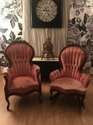 Victorian Parlor Chairs-His & Hers Rocking Tufted Velvet Pink-Handcarved Rare
