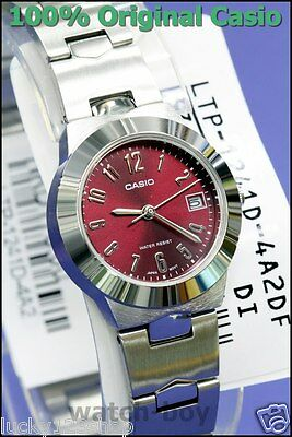 8a548befe64d LTP-1241D-4A2 Red Casio Stainless Steel Band Ladies Watches Date Display New
